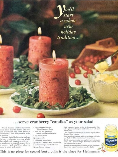 """Cranberry + Mayo = Candle? We are not sure this new 'food math"""" really adds up to anything we would dare to call a """"new Holiday tradition""""."""